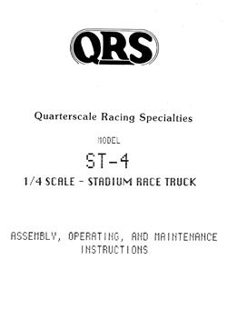 Quarterscale Racing Specialties Manuals