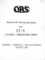 Quarterscale Racing Specialties ST-4 Manual